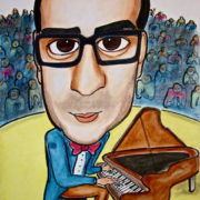 caricatura de pianista a color