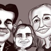 Tres personas en caricatua de acabado digital